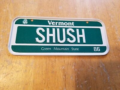 1986 Post Cereal Metal Bike License Plate State - Vermont SHUSH Green Mountain