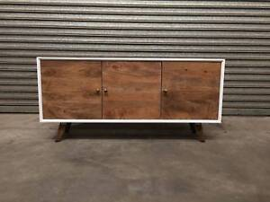 NEW 3DOOR BUFFET: DOMENIQUE TWO-TONE WHITE & TIMBER CONTEMPORARY Leumeah Campbelltown Area Preview