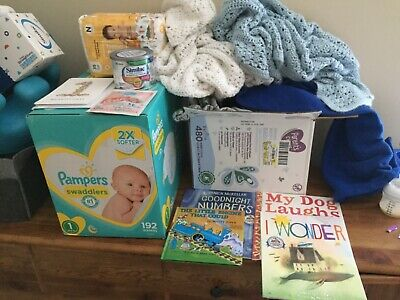 newborn baby boy stuff (jump suit, books, formula, blankets, diapers) Infant Newborn Baby Formula