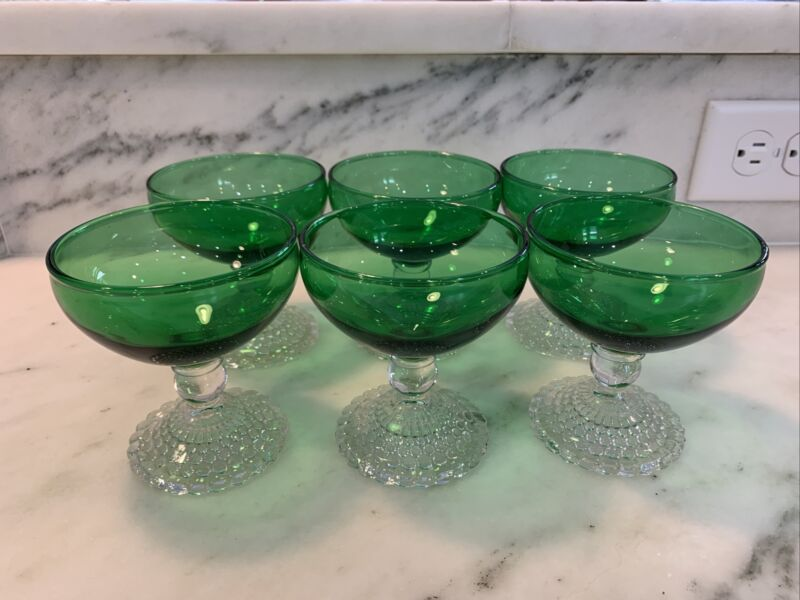 "6 Vintage Anchor Hocking Bubble Forest Green Sherbet Champagne Glasses 3.75"""