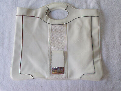 Leatherette Womens Tote Bag - Serious Skin Care Off-White LEATHERETTE TOTE BAG PURSE