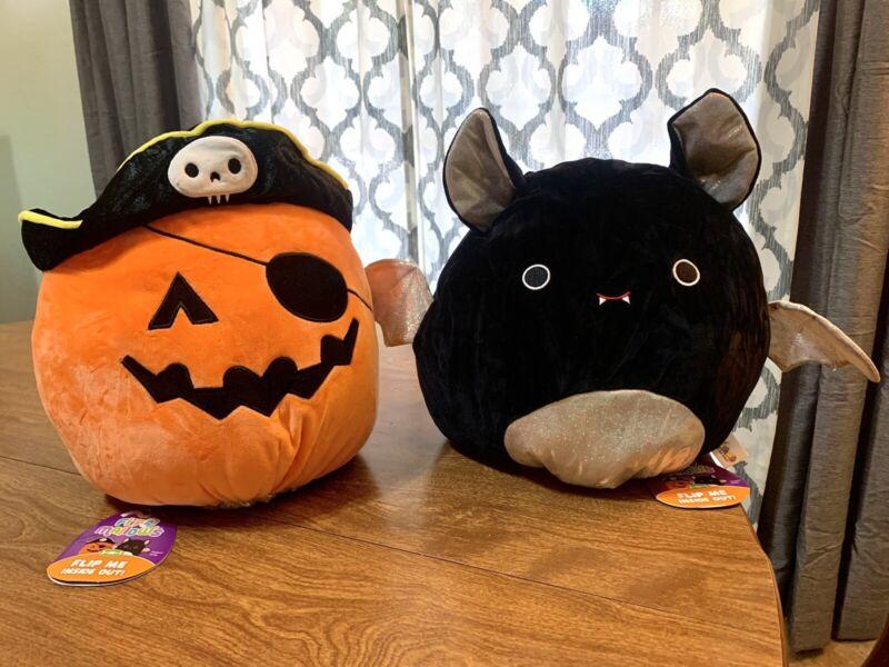 "Halloween  12"" Emily the Bat / Paxton the Pumpkin Squishmallow Flipamallow"