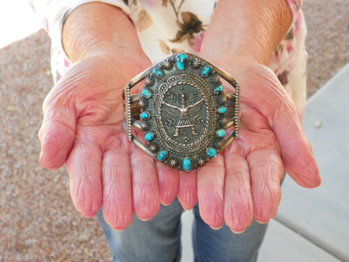 96 Gram Signed S Sterling Silver & Turquoise Eagle Kachina Bracelet - 7 inch