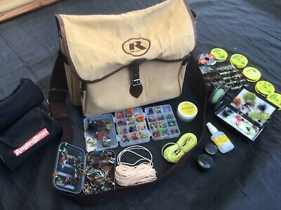 Vintage RELUM fly fishing bag with flies reel and line joblot collection