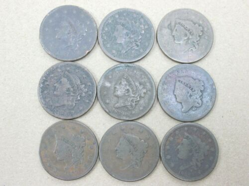 Lot of 9 Low Grade Large Cents 5 Different Mixed Dates Q2K1