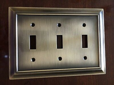 BRAINERD ARCHITECTURAL TRIPLE SWITCH TOGGLE WALL PLATE ANTIQUE BRONZE FREE SHIP