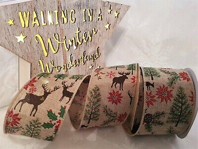 Christmas REINDEER IN FOREST tree holly stag - Luxury Wire Edge Ribbon 63mm ()