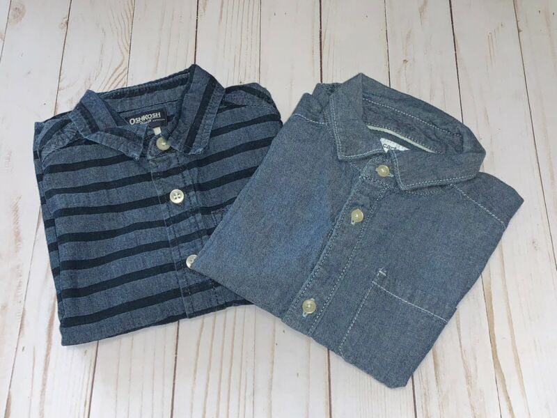 Oshkosh & Carter's Toddler Boy's Button Down Collared Shirts Size 4t Lot Of 2