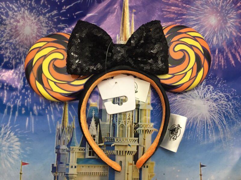 Disney Parks 2020 Minnie Halloween Candy Sequin Bow Headband Ears Lollipop