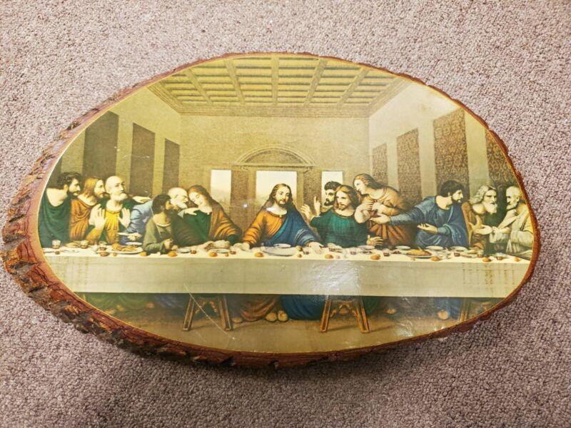 """Vintage The Last Supper on Live Edge Cedar Wood Slab Wall Art  16.5"""" x 10"""""""
