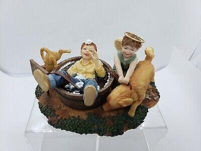 Prayers & Promises Figurine You Gotta Laugh Dog Washing Cat Angel Bill Stross 02