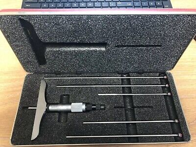 Starrett Depth Micrometer Set 0-6 W 4 Base No.445