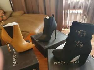 High heel ankke boots / thigh high stretch satin boots