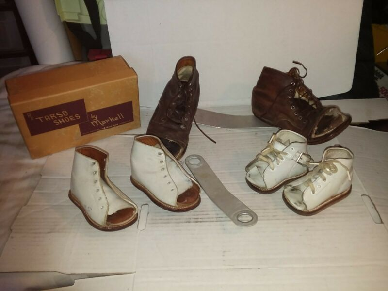 Lot of 3 Vintage Leather BABY Orthopedic Shoes Sabel
