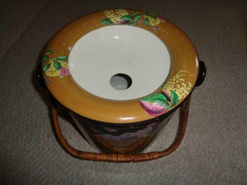 Rare 1900 Bisto england ornate floral chamber pot lid slop bucket cream exterior