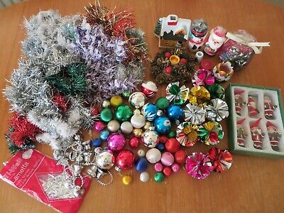 RETRO OLD VINTAGE CHRISTMAS DECORATIONS BUNDLE baubles candles tinsel Santa
