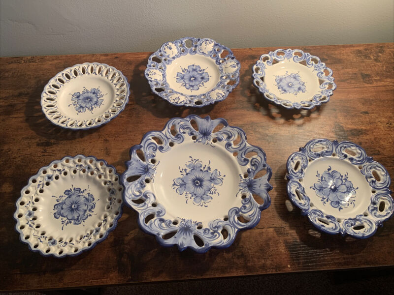 Portugal Blue White Reticulated Plates