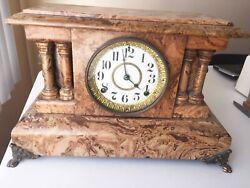 1880 Seth Thomas Adamantine Mantel Clock – RARE MARBLE veneer