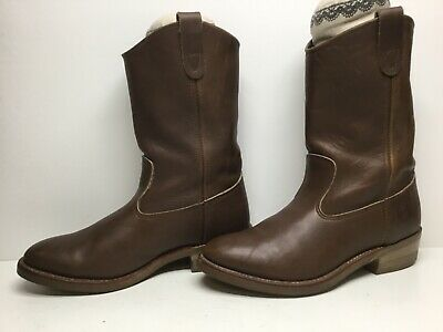VTG MENS DOUBLE-H WORK BROWN BOOTS SIZE 9 4E