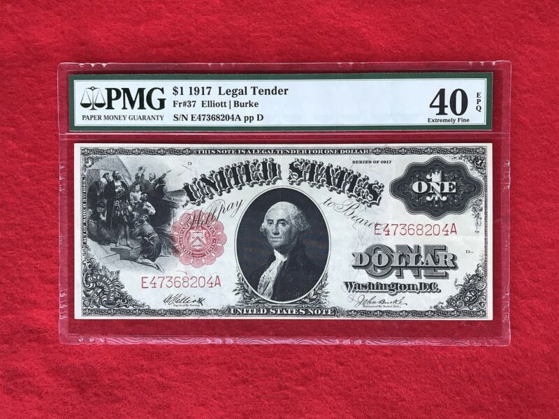 FR-37 1917 Series $1 United States Legal Tender Note *PMG 40 EPQ Extremely Fine*