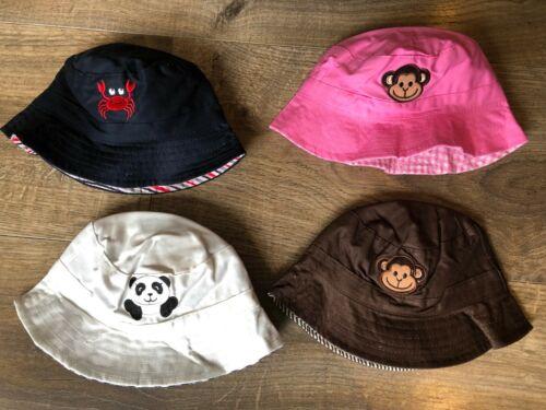 NEW Baby Beach Bucket Sun Hat Pink Brown White Navy Monkey Crab Panda Girl Boy