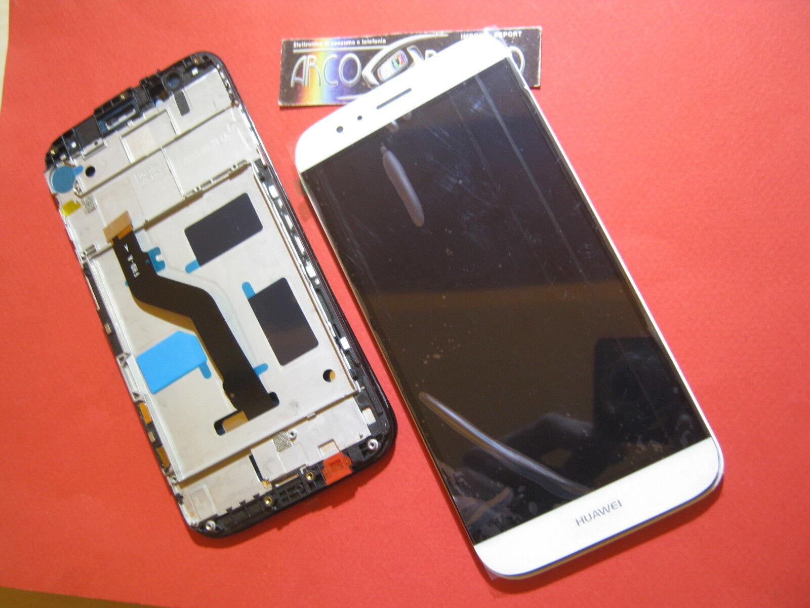 SDA: DISPLAY LCD+ TOUCH SCREEN +CORNICE COVER PER HUAWEI GX8 GX-8 BIANCO FRAME