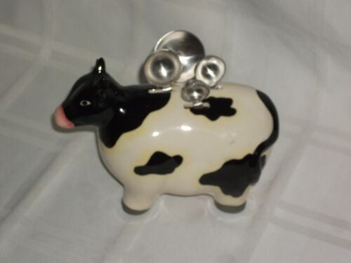 Black and White Ceramic Cow with  Measuring Spoons