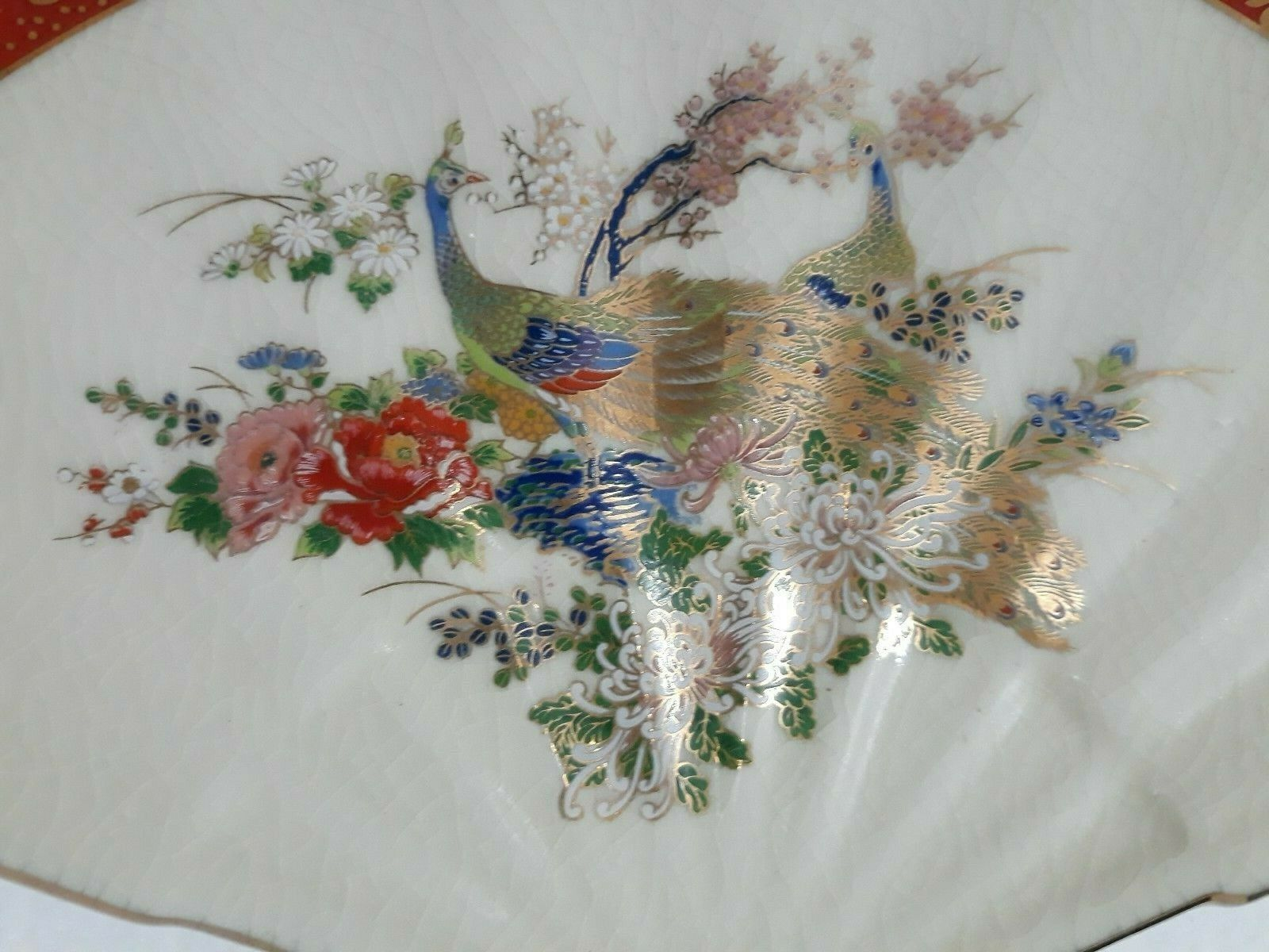 Satsuma Japan Floral Peacock Fan Shaped Oriental With Golden Color Trim Dish - $21.99