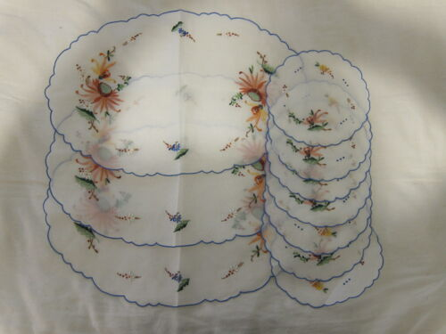 NEW Vtg Jabara Hand Embroidered Chinese Placemat Coaster Napkin Set 10 Pc Floral