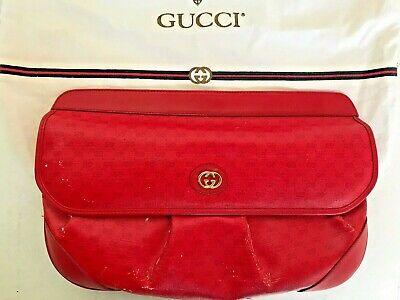 "Vintage Authentic GUCCI Red G Logo PVC & Leather 13"" Large Clutch Handbag 70's"
