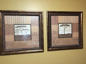Two Matching Large Pictures of trees in brown/beige tones