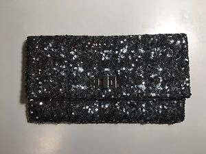 Silver sequin evening formal clutch purse for wedding, party
