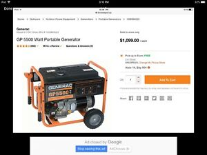 Portable generator. Generac model GP5500 watts