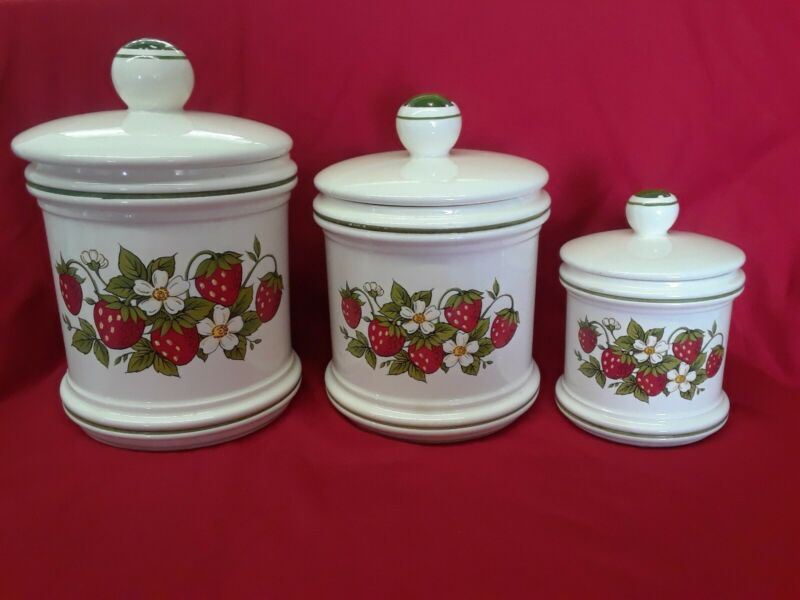 Vintage Retro Sears Strawberry Fields Ceramic Canisters Set Japan 1970