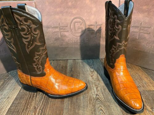 Mens, Tan, Circle, G, by, Corral, belly, cut, caiman, western, boots.