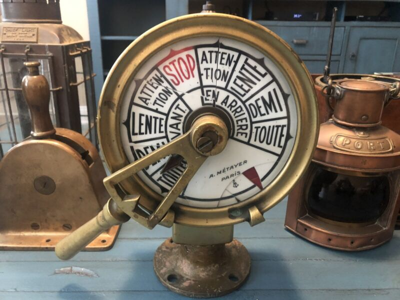 WW2 Engine Order Telegraph / Antique Nautical Brass EOT French Frigate
