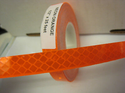Neon Orange Reflective  Conspicuity Tape 12 X 25 Feet Lined Peel Stick