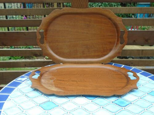 Vintage Haskelite Wooden Serving Trays with Handles