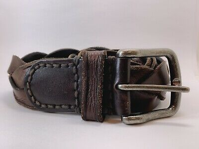 Women's A&F Abercrombie & Fitch Wide Genuine Leather Brown Braided Belt Size 30