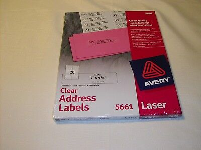 Avery 5661 Clear Address Mailing Labels For Laser Printers