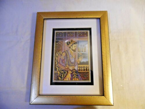 Vintage Persian Painting On Stone King Cyrus The Great? Framed