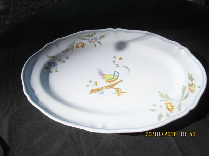 "LONGCHAMP PEROUGES hand painted France large 16 1/2"" Scalloped platter bird"