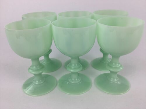 """Portieux Vallerysthal PV Jadeite Pale Green SIX (6) 4 1/2"""" Small Wine Glasses"""