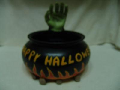 VINTAGE GEMMY HAPPY HALLOWEEN  FIRE PIT CANDY DISH W/GARBING HAND - Halloween Fire Pit