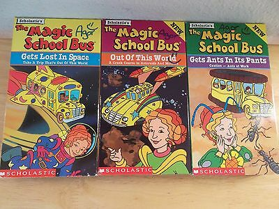 Lot 3 VHS Videos Scholastic The Magic School Bus Ms Frizzle Space Ants Astroids