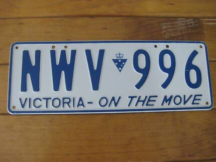 Single Retro Car Number Plate - Victoria (Australia) 1994 - 2000