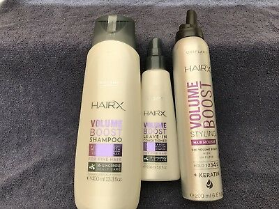 Hair Plus Shampoo Conditioner (Oriflame Hair X Shampoo 400ml , Conditioner 150ml , Mousse 200ml (all New )*plus)