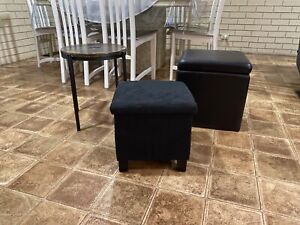 Furniture, Home Decor Lot (storage ottoman/foot rest, side table)
