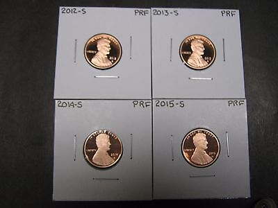 2012 S   2013 S   2014 S & 2015 S PROOF  LINCOLN UNION SHIELD PENNY/ CENTS