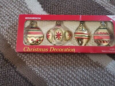 Vintage retro Woolworth red gold plastic Christmas ornaments decorations baubles